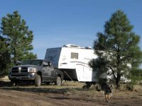 Wyatt boondocking on Devil Dog Road, Williams AZ