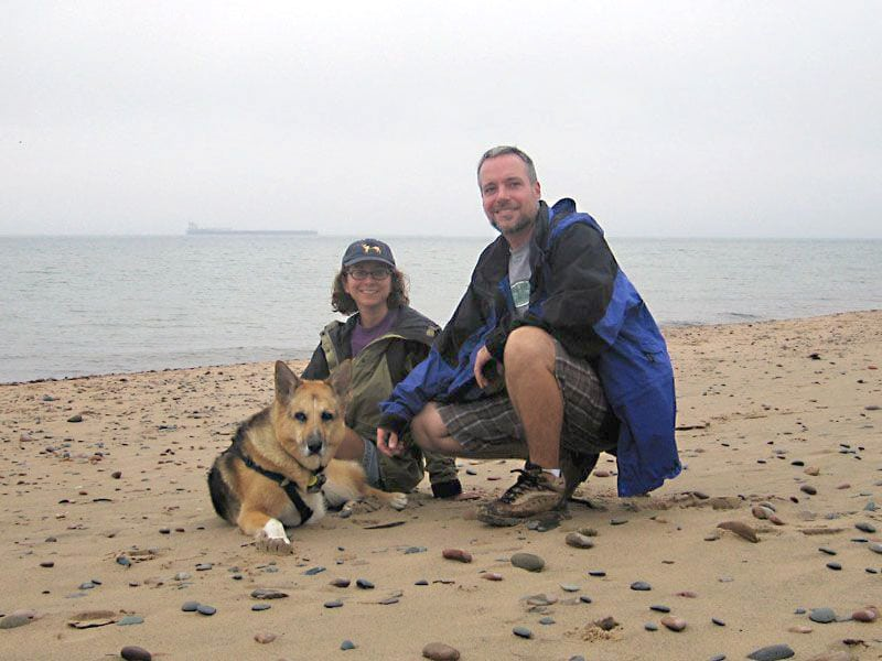 Jerry and his pack at Whitefish Point on Lake Ontario