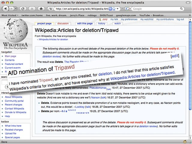 Deleted Wikipedia Tripawds Article