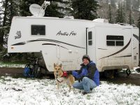 Boondocking in the snow at Williams Creek campground