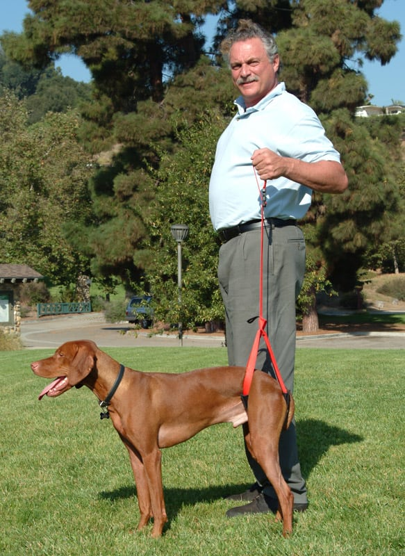 Arnie demostrates the Bottom's Up Leash