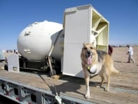 Atomic Dog Jerry with a Bomb Casing at the Trinity Site