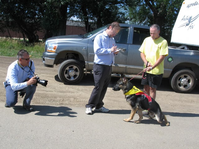 Wyatt and Jim Meet the Press at Longmont Tripawd Party