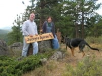 Jim, Rene and Wyatt dedicate Jerry's Acres with Sign