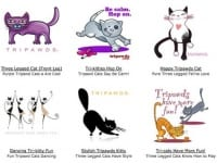 Tripawds Three Legged Cat T-shirt designs