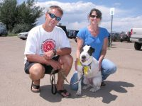 Lily with Jody and Clay at Tripawds Party